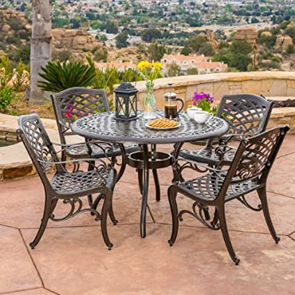 Exceptional Covington | 5 Piece Cast Aluminum Outdoor Dining Set | Perfect For Patio |  In Bronze