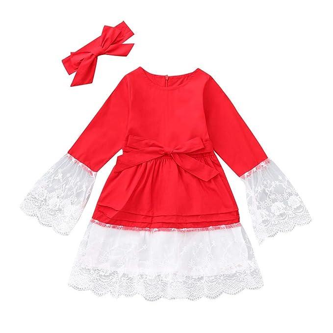 DAYLIN 2018 Niña Vestidos, Niños Bebé Mangas de Trompeta Navidad Ropa Encaje Rojo Vestido de Princesa: Amazon.es: Ropa y accesorios