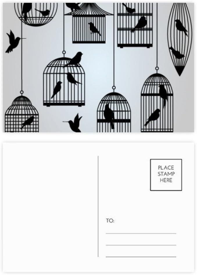 DIYthinker Las aves ilustración Gracias canastilla para tarjetas de cumpleaños Postal de la silueta Conjunto de correo lateral 20Pcs 5,7 pulgadas x 3,8 pulgadas Multicolor
