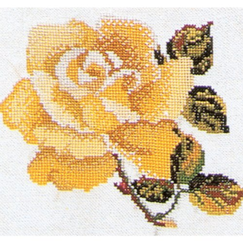 Thea Gouverneur 16 Count Counted Cross Stitch Kit, 5-1/8 by 5-1/8-Inch, Yellow Rose on ()