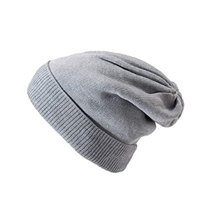 a4a2e49cbc2 Amazon.com  SUKEQ Winter Warm Knitting Hats Long Slouchy Beanie Cuff Knit  Cap Thick Baggy Ski Cap (Gray)  Home   Kitchen
