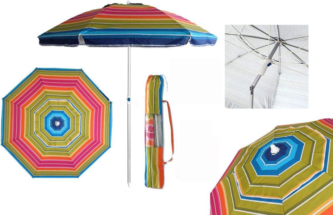 Pincho Sombrilla Playa 2m Aluminio UPF+50 99% UV Punta de Aluminio Reforzado (Multicolor): Amazon.es: Jardín
