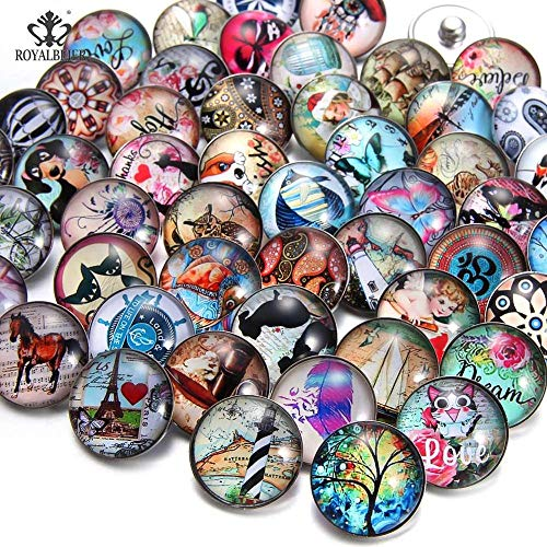 Mixed Acrylic Pattern & Styles Charms 18mm Glass Snap Button | for Bracelet Snaps Jewelry (50pcs/lot)