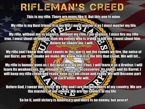 Marines Creed Poster US Marines Corps Usmc Riflemans Creed V3