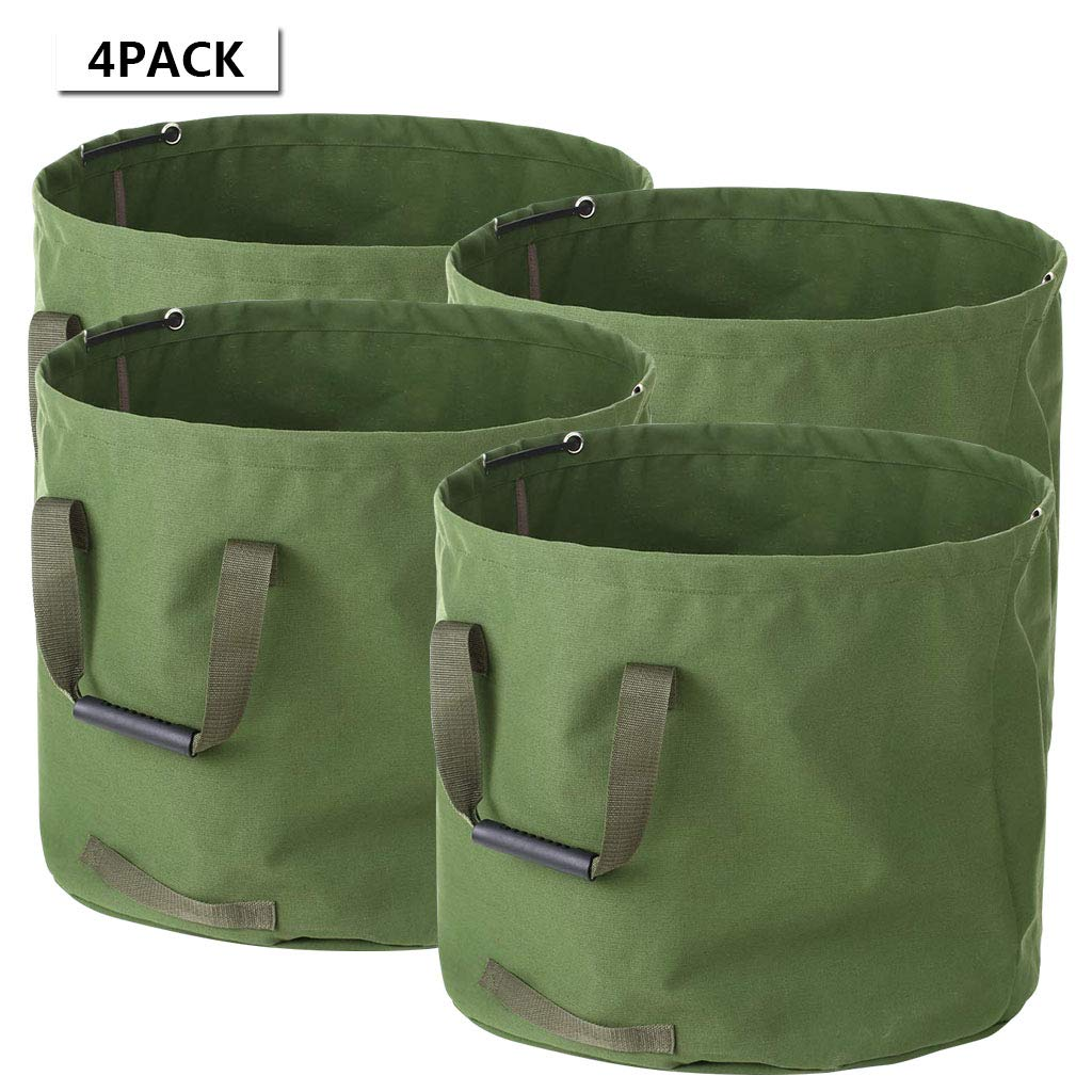 33 Gallon Garden Waste Bags Heavy Duty with Handles, 4-Pack Collapsible Green Leaf Bag with Military Canvas Fabric (H18 in, D22 in) by UEK