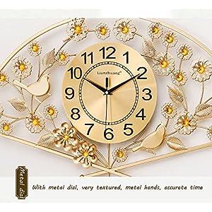 Wall clock Reloj Sala de Estar Inicio Reloj de Pared Moderno Minimalista silencioso Reloj de Cuarzo Sector Metal Shell Cristal Espejo 26 Pulgadas 24 * 24 cm Reloj Cara 6
