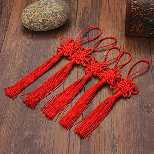 Hanging Ornaments - 10pcs Red Hand-Knit Chinese Knot Gift Celebration Supplies Car Pendant - Chinese Tassel Large Tassels Keys Earrings Cord Necklace Loop Silk - Red
