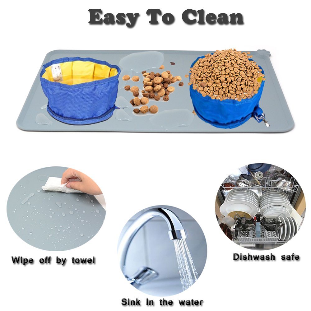 Santune Dog Food Mat Silicone Dog Cat Feeding Bowl Mats Waterproof Non-slip Raised Edge Pet Food Tray Placemat for Small to Large Breeds,18.7\
