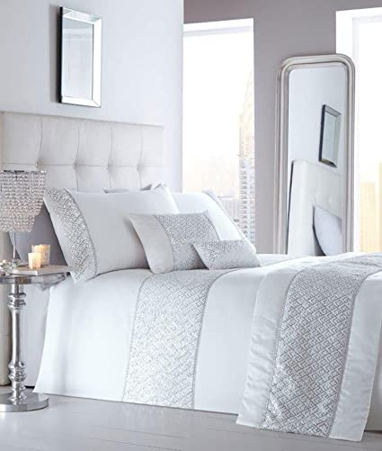 Silver Bedding Crystal Glitzy Double King Size Super King Size or Cushion