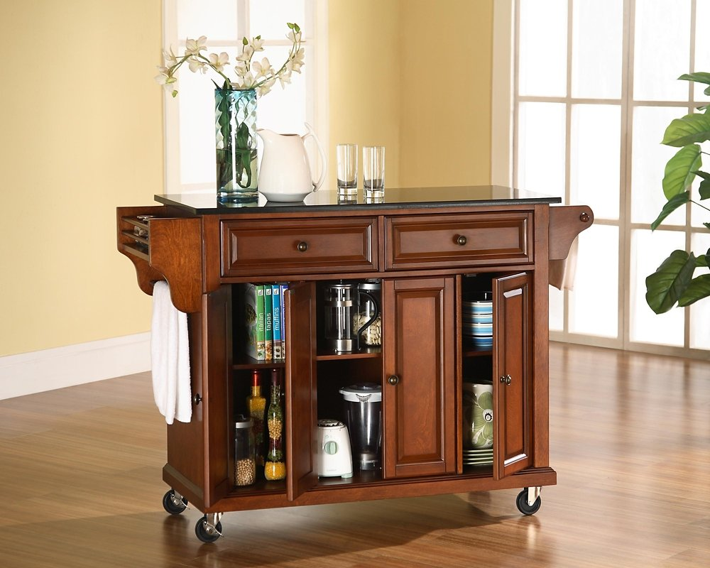 Granite Kitchen Cart Amazoncom Crosley Furniture Solid Black Granite Top Kitchen