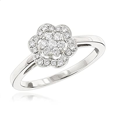 566738cb52a2a Amazon.com: Luxurman Flower Diamond Rings 14K Gold Ladies Natural ...