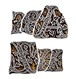 Hashcart Handmade Wooden Blocks Printing Stamps A to Z Inverted (Set of 26) Hand-Carved for Saree Border Making Pottery Crafts Textile Printing