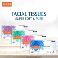 Tulips Facial Dry Tissue Paper, Super Soft, Super Absorbent & 100% Pure, 2Ply x 100 Pulls (Pack of 2)