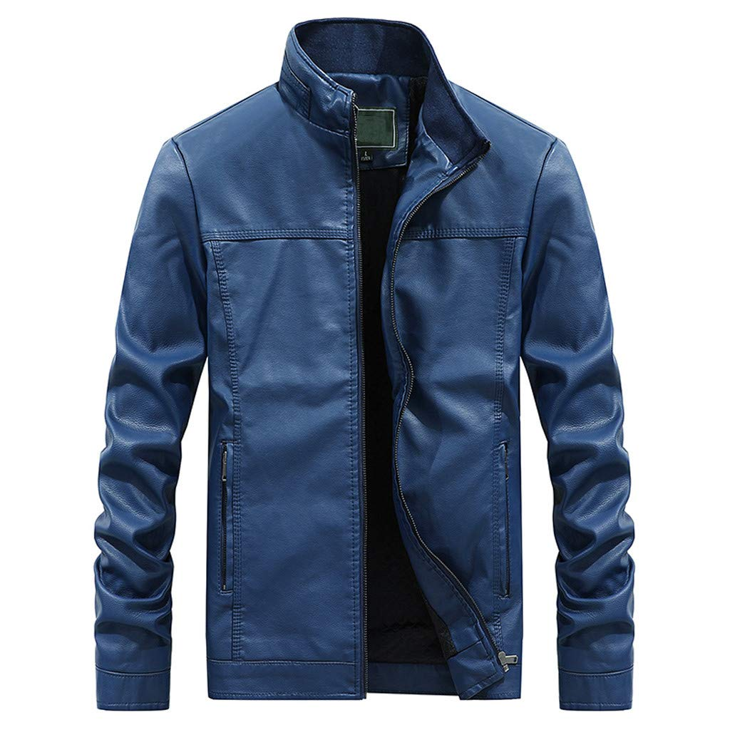 Benficial Jacket for Men,Mens Autumn Fashion Pure Color Stand Collar Imitation Leather Jacket Coat 2019 New Dark Blue