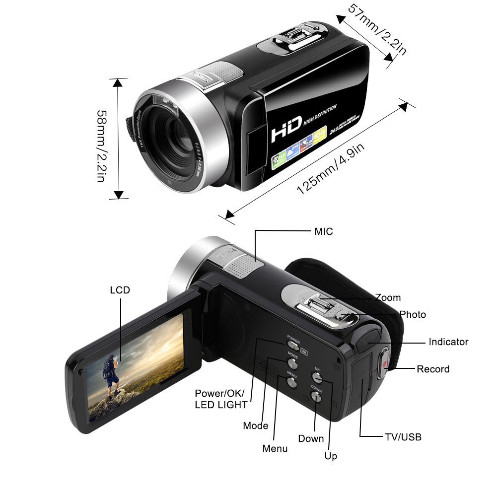 Camcorder Video Camera Full HD 24.0MP Camcorders Digital Camera 1080p 3.0'' Rotatable LCD for Vlogging Webcam Pause Function Dual LED Lights by SUNLEA (Image #5)