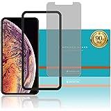 ガイド枠付き【実機確認済】【iPhone XS Max 6.5インチ対応】 日本メーカー 180° プライバシーガラスフィルム 強化ガラス 硬度9H 全面保護 [指紋防止 スクラッチ防止 気泡ゼロ 防汚] 0.3mm 2.5D 日本板硝子社 液晶 保護フィルム アップル apple アイフォン 【WANLOK安心安全日本メーカー】 iPhoneXS Max 6.5 Privacy