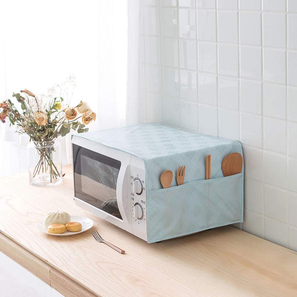 BESTONZON Microwave Dust-proof Cover Microwave Bag Oven Cover Waterproof Oil proof Storage Bags Organizer Blue