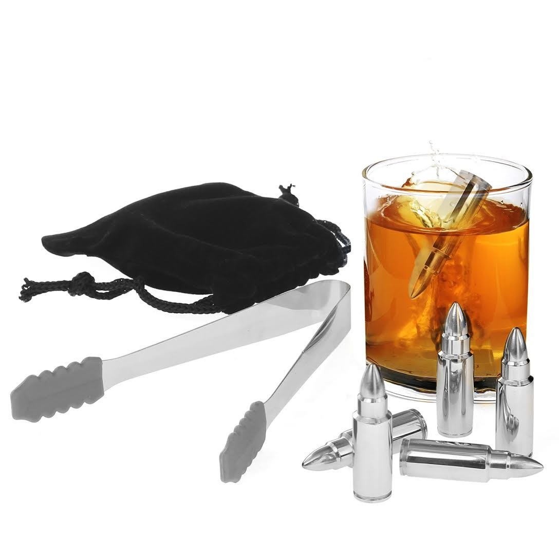 Zalik Whiskey Stones Bullet Shaped Chilling Stones - Stainless Steel Beverage Cooling Rocks Ice Cubes Set Of 6 With Tongs And Velvet Bag - For Whiskey, Vodka, Liqueurs, White Wine And More