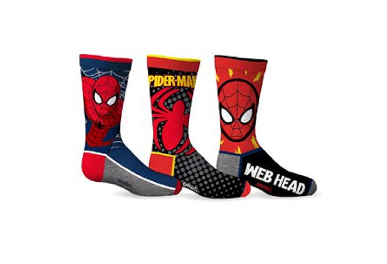 Marvel Comics Boy's Spiderman Web Head 3-Pack Crew Socks SPORTICUS