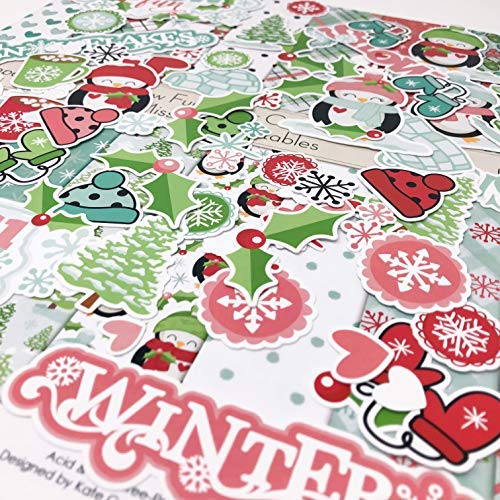 Die Cuts & Paper Set - Snow Fun - by Miss Kate Cuttables - 16 Sheets of 12x12 Cardstock & Over 60 Coordinating Die Cuts - Exclusive Original Matching Set