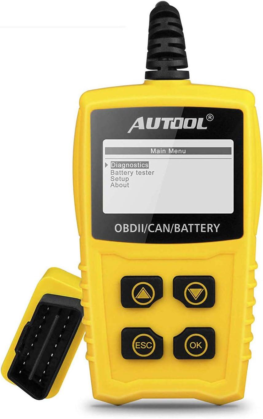 OBD2 OBDII Diagnóstico para Coche, AUTOOL Diagnosis Coche OBD2, Escáner de código de Motor con comprobador de batería para Coche, Lector de código de avería con I/M para SUV/Car/Van