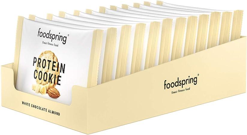 foodspring Cookie Proteica, Chocolate Blanco y Almendra, 12 x ...