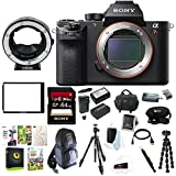 Sony Alpha a7RII Mirrorless Digital Camera (Body Only) + Metabones Canon EF to Sony E-Mount T Smart Adapter + Manfrotto Compact Light Tripod + 64GB Bundle