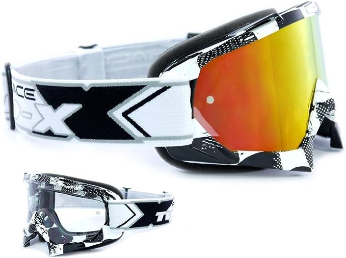 Two X Race Crossbrille Factory Schwarz Weiss Glas Verspiegelt Iridium Mx Brille Motocross Enduro Spiegelglas Motorradbrille Anti Scratch Mx Schutzbrille Auto