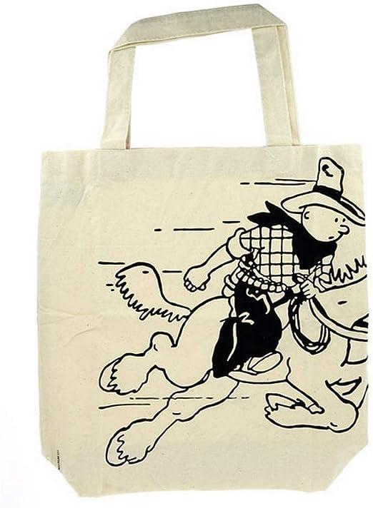 Moulinsart Bolsa Reutilizable Beige 100% algodón Tintín Cowboy ...