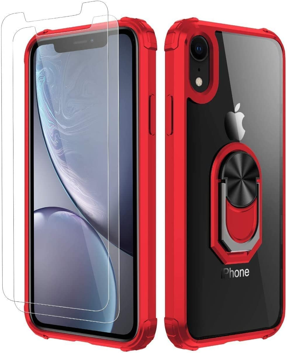 iPhone XR Case, [ Military Grade ] with [ Glass Screen Protector] 15ft. Drop Tested Protective Case   Kickstand   Compatible with Apple iPhone XR Case -Red