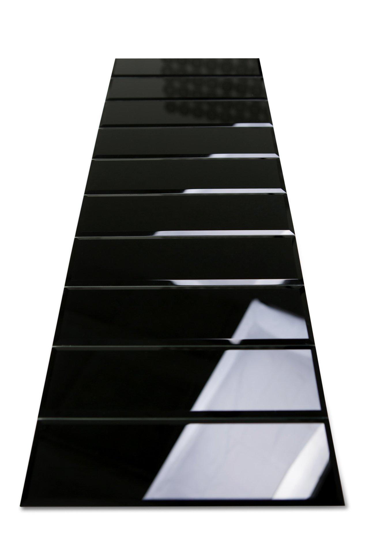 3'' x 10'' Subway/Brick Black Glass Tile with Beveled Edge for Kitchen Backsplash/Bathroom 55 Tiles Kit/Covers 12sq/ft