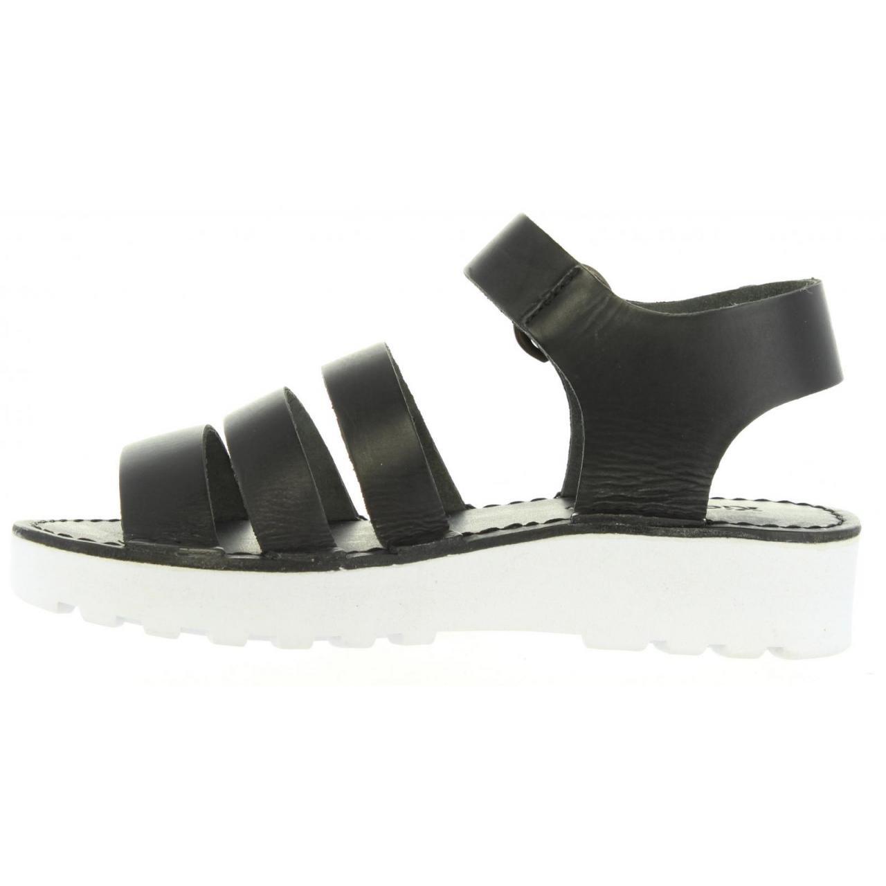470900 81 Femme 55 Sandales Kickers Blanc Noir Clipper pour Taille qHYnt