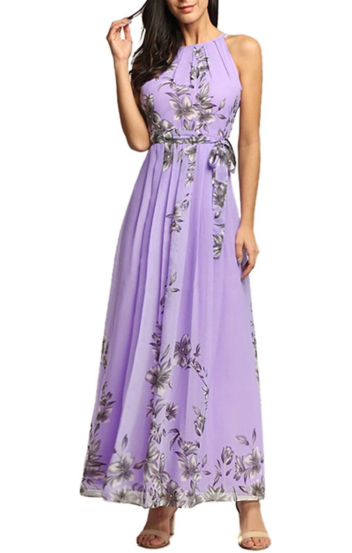 BestWahl Damen Chiffonkleid Cocktailkleid Abendkleid Ballkleid Sommer Maxi Kleider Lange Sommer Vintage Kleider