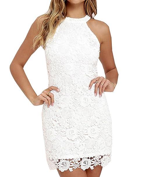 dc4eec2b572f Women s Summer Sleeveless Halter Lace Cocktail Party Dress Bodycon Mini  Dress (US 2