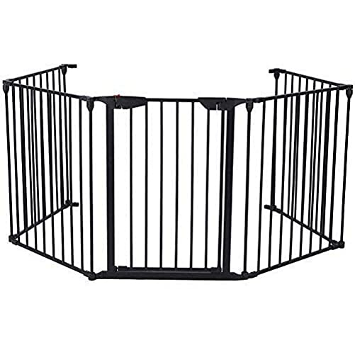 Lovinland Metal Baby Gate Fireplace Gate 5 Panels Fireplace Fence Pet Gate with Auto Close Door for Toddler Pet Dog Cat