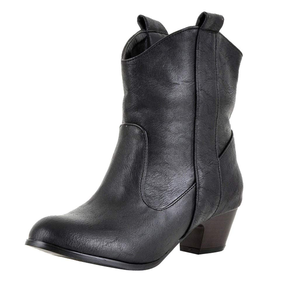 Aurorax-shoes Womens Leather Low Boot High Heel Shoe Cowboy Style Ankle Boots Size 5.5-9.5 (Black, US:8.5/LED 9.9'')