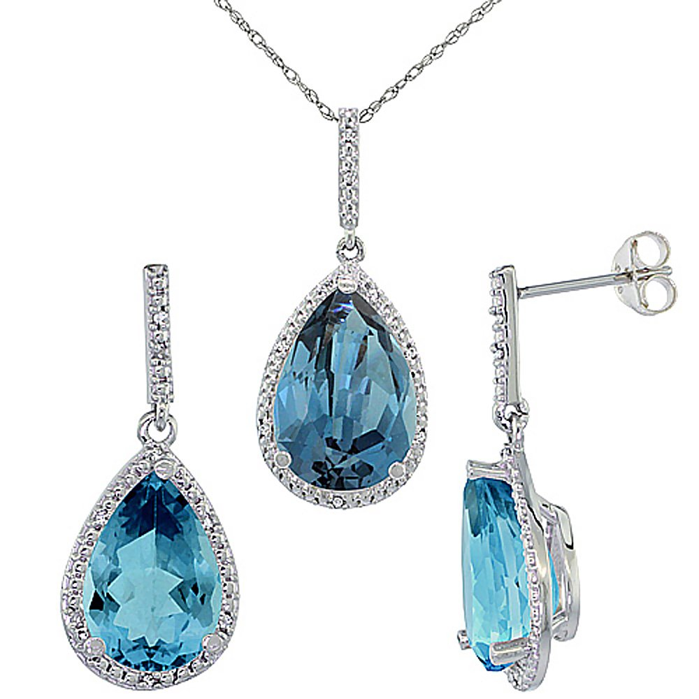 10K White Gold Diamond Natural London Blue Topaz Earrings Necklace Set Pear Shaped 12x8mm&15x10mm,18 inch