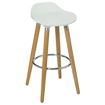 atmosphera tabouret de bar avec pieds en htre naturel et assise coloris blanc style scandinave - Tabouret De Bar Style Scandinave