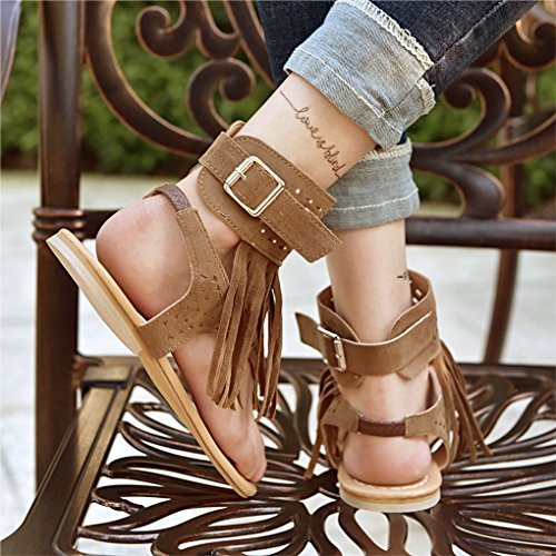 Minetom Nappa Infradito Scarpe Decor Eleganti Tacco Shoes Peep Marrone Sandali Basso Donna Boemia Toe Strass Estivi r7xqr0P