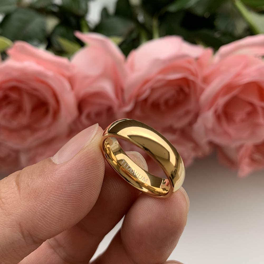 iTungsten 2mm 4mm 6mm 8mm 18K Gold Titanium Rings for Men Women Engagement Wedding Bands Classic Domed Polished Shiny Comfort Fit
