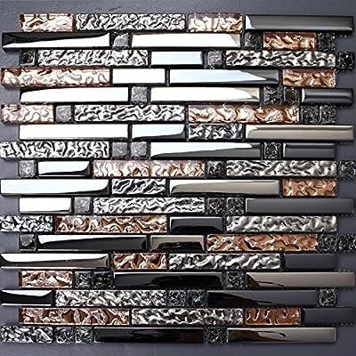 TST Mosaic Tiles Crystal Glass Tile Interlocking Rose Gold Mosaic Bath Kitchen Fireplace Decor TSTGT107 from TST Mosaic Tiles