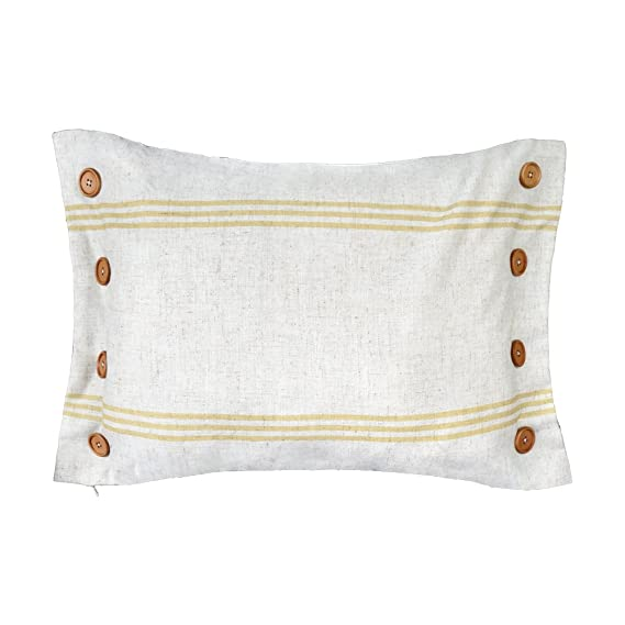 King Rose Yellow 8 Buttons Linen Blend Decorative Throw Pillow Cases Cushions Covers 16 x 24 Inches