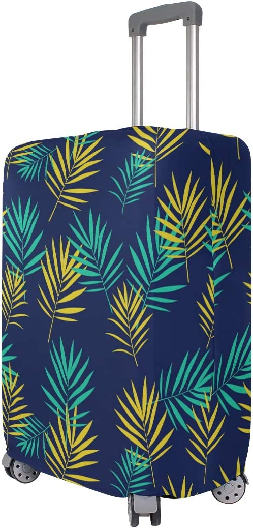 Deep Indigo Palm Leaves Travel Luggage Protector Case Suitcase Protector For Man/&Woman Fits 18-32 Inch Luggage