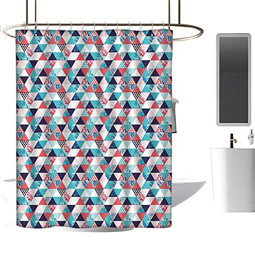 Pattern Shower curtain54 x78 Flamingo,Horizontal Triangles Geometrical Frames with Exotic Beach Elements Mosaic Design,Multicolor,EVA Rust Proof Grommets Shower Curtain Bathroom Decoration
