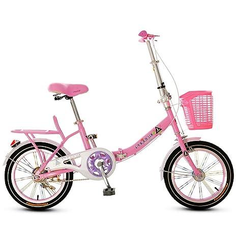 Xiaoping Bicicleta Plegable de 16 Pulgadas Boy Infantil Niña de Bicicletas 6-8-10 Años de Edad (Color : 2): Amazon.es: Deportes y aire libre