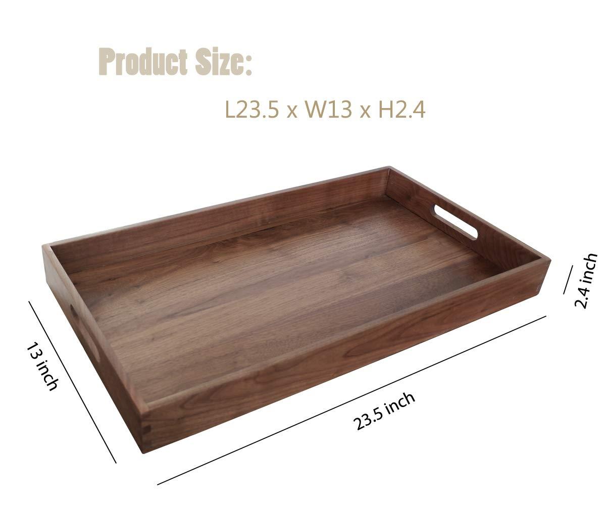 Magigo Extra Large Walnut Wooden Ottoman Serving Tray 24