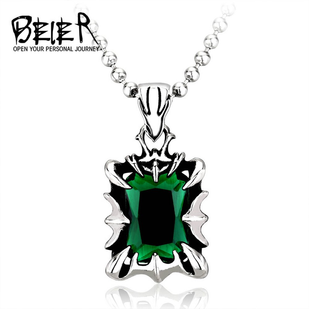 2016 New Nobility Titanium Steel Carved Inlay Emerald Pendant Stainless Steel Cool Fashion Unique Pedant