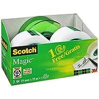Scotch Magic plakband Promotion AAMT-3 – 3 rollen beschrijfbaar, matte kleeffilm 19 mm x 25 m incl. gratis handafroller…