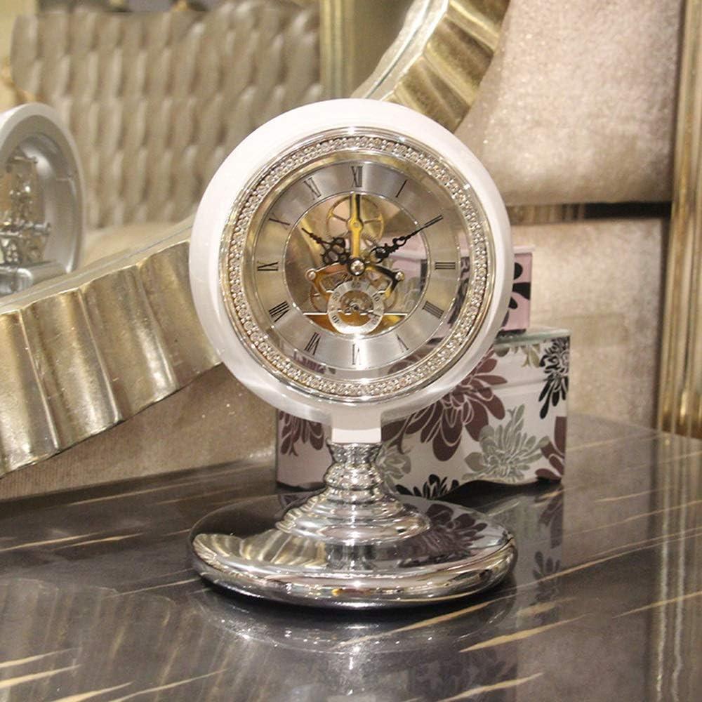 アート 14インチレトロな時計デジタル時計/ミュート置時計リビングルーム表機械振り子時計/クリエイティブ時計オーナメント 飾る (色 : White)