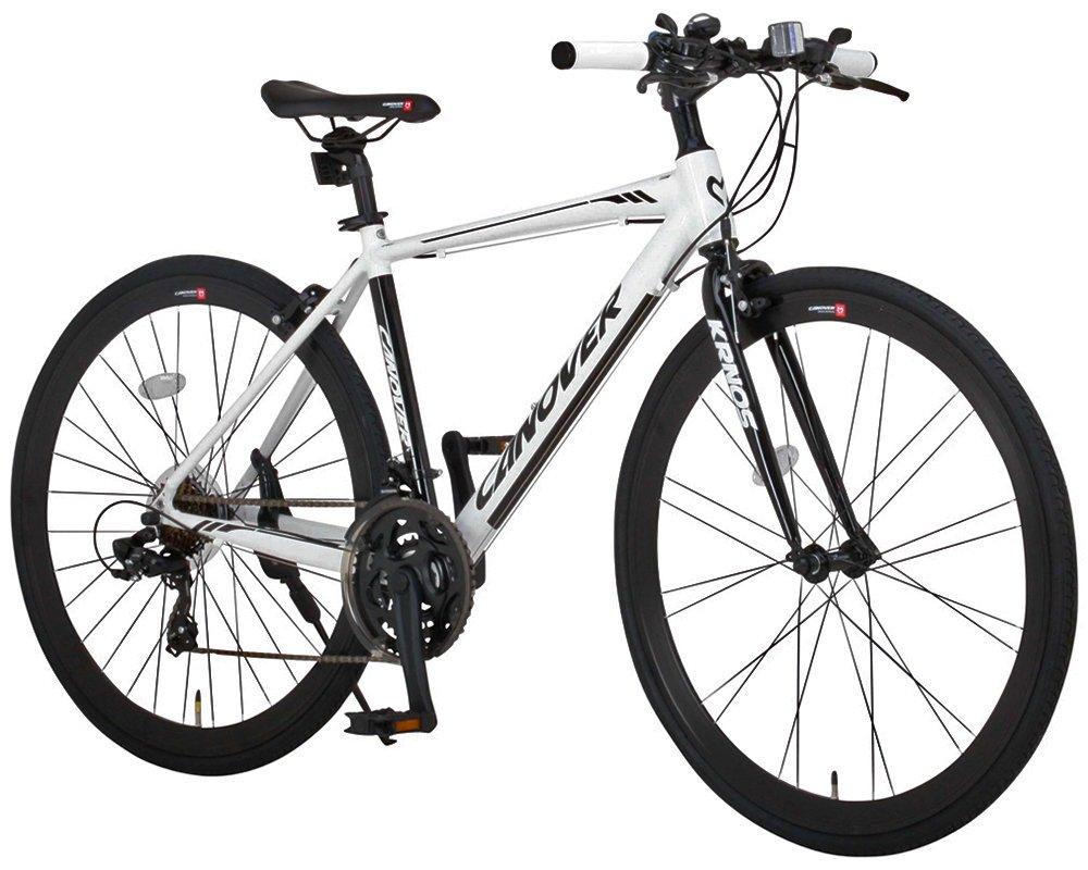 CANOVER(カノーバー)クロスバイク 700C シマノ21段変速 CAC-028(KRNOS) アルミフレーム フロントLEDライト付 [メーカー保証1年] B01MZCPGAW ホワイト ホワイト